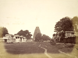Hampi street, looking towards the Virupaksha Temple, Vijayanagara